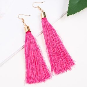 Long Hot Pink Tassel Earrings with Gold Hardware